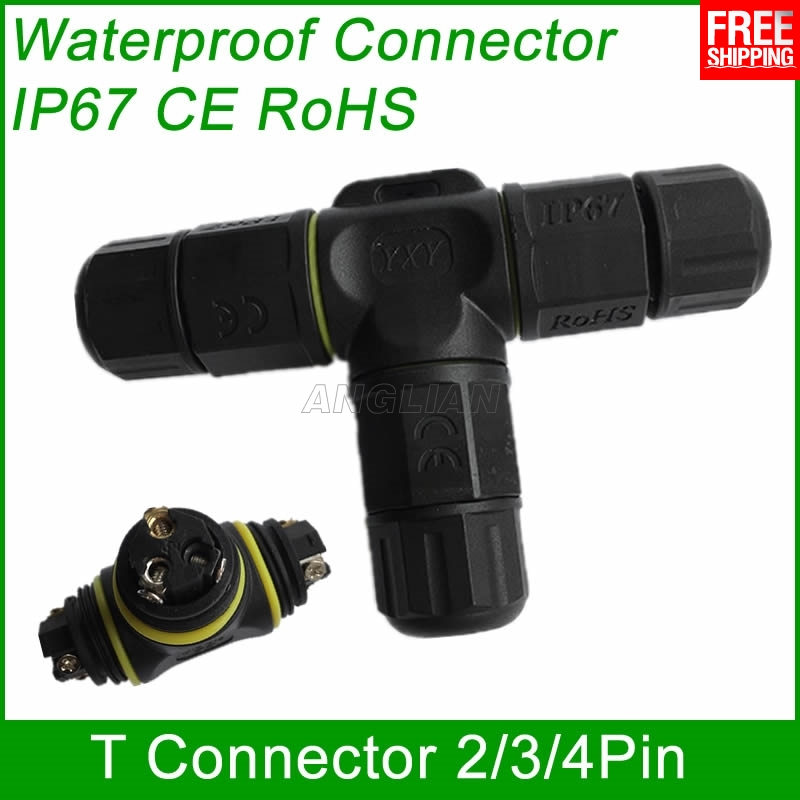 T Connector T Shape 2 pin 3 pin 4 pin IP67 Waterproof cable Connector Electrical wire quick plug Screw outdoor Lighting 1 unit llt l20 4 pins t type waterproof connector ip67 led power cable connector outdoor wire connector