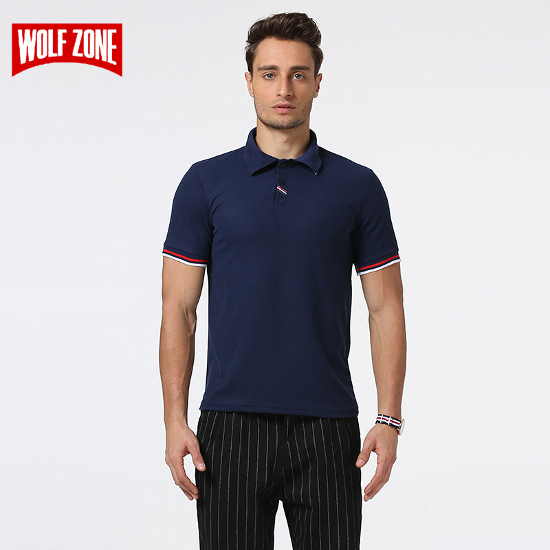 WOLF ZONE New Polo Shirt Men Business Fashion Casual Mens Short Sleeve Breathable Solid Cotton Soft Polo Shirts Brand Clothing