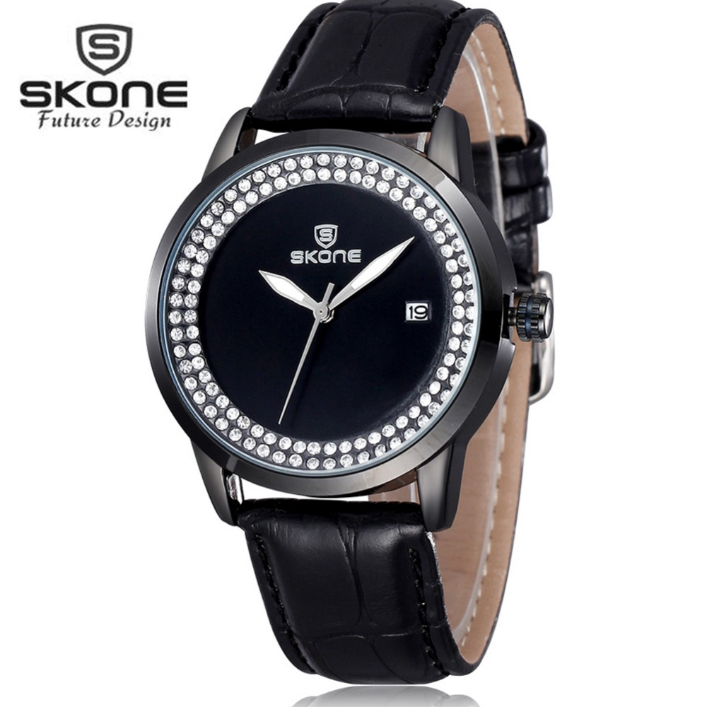 SKONE Fashion Leather Diamond Watches Women Top Brand Luxury Quartz Watch Ladies Watch Clock Relogio Feminino Relojes Mujer 2017