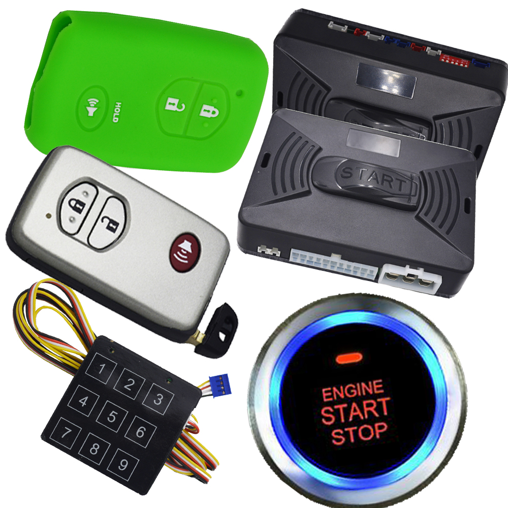 universal keyless car alarm auto central lock car door RFID induction technology smart key identification remote start stop car pke smart car alarm system is with passive auto lock or unlock car door keyless go push button start stop remote start stop