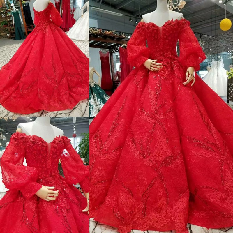 e715b3e43d0b4f Goede Koop Luxe rode trouwjurk vintage baljurk elegante Bruid bruidsjurken  met trein voor sweetheart 3d bloemen kralen lace 2018 Goedkoop.