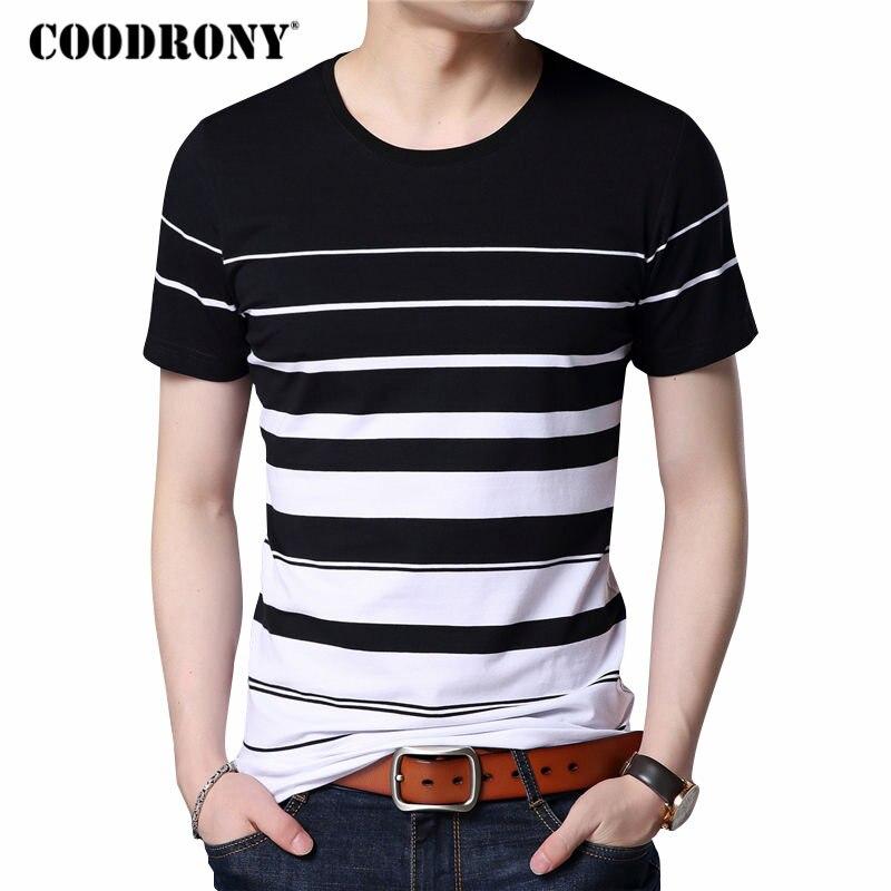 COODRONY Camiseta de manga corta de algodón de los hombres ropa de marca 2018 nueva moda Primavera Verano estampado a rayas de cuello camiseta Tops S7633
