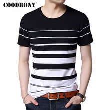 COODRONY Pure Cotton Short Sleeve T Shirt Men Brand Clothing 2017 Spring Summer New Fashion Striped