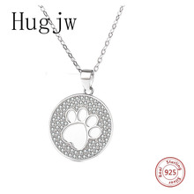 hot sale sterling silver 925 cat paw footprint necklace in jewelry pendant with CZ chain fashion for women