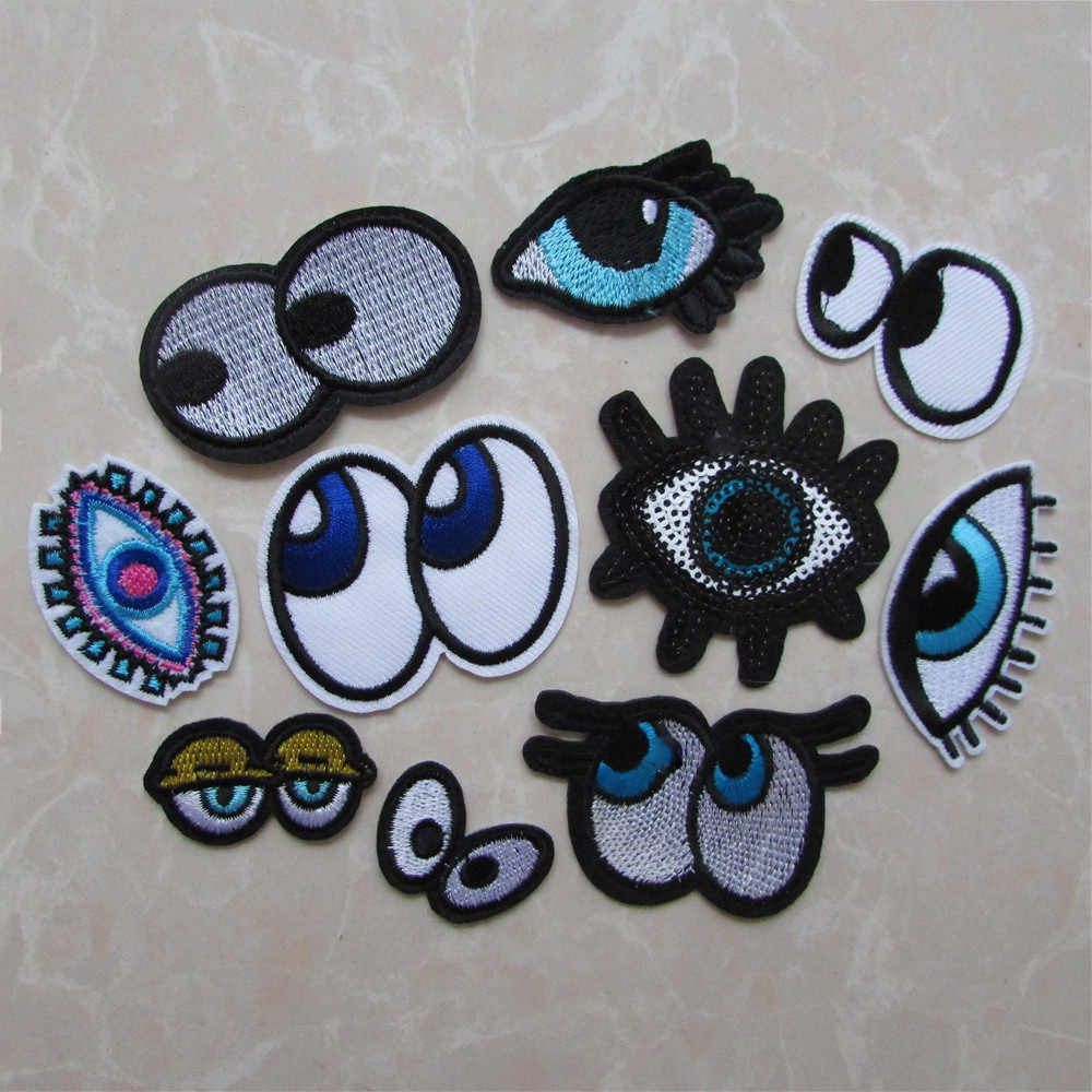 fashion style 1PC Eye Iron-on Patches For Clothes Sew Sequin Applique Badge Sticker Motif Embroidery Patches DIY Accessories