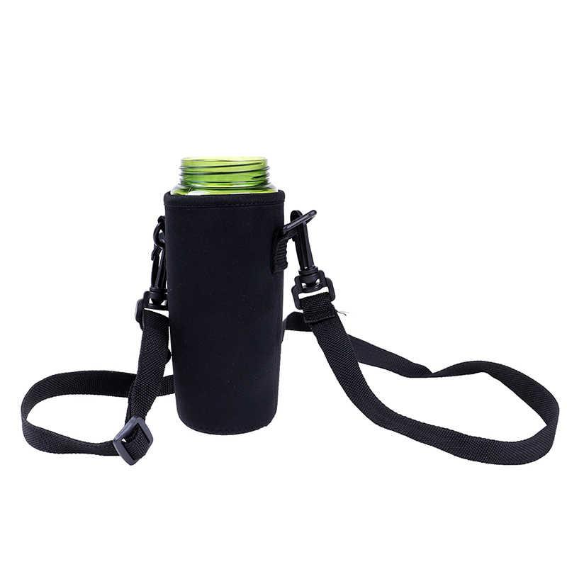 420-1500ML Wasser Flasche Abdeckung Tasche Tasche w/Gurt Neopren Wasser Beutel Halter Schulter Gurt Schwarz Flasche träger Insulat Tasche