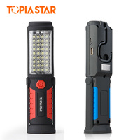 TOPIA STAR USB Rechargeable Flashlights Work Light Emergency Torch Magnetic Hanging Lamp For Auto Repair Camping
