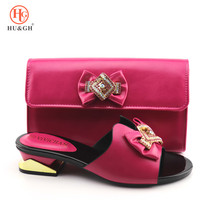New Arrival Fuchsia Color Women Shoes and Bag To Match Set Italy Shoe and Bag for Nigeria Party Nigerian Women Wedding Shoes