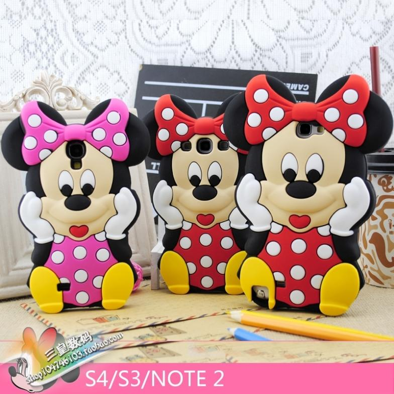 Fashion cute cartoon 3D lovely Minnie Mouse Soft Silicone Cover Back Rubber Case For samsung galaxy S3 S4 S5 S6 NOTE 2 3 4