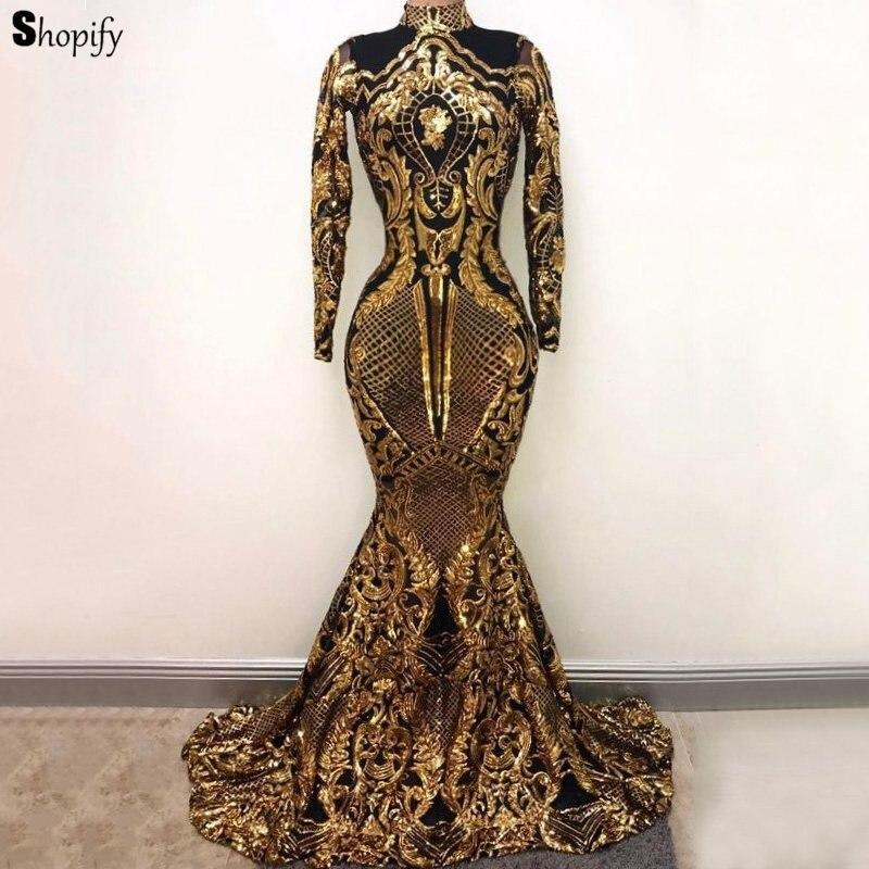Sparkly Long Sleeve Mermaid High Neck Golden Sequin African Floor Length Long   Prom     Dresses   2019
