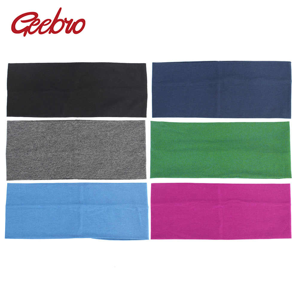 Geebro 10cm Women's Wide Headband Autumn Cotton Flat Hair Band For Girls Femlae Elastic Stretch Head Bandage Hair Accessories