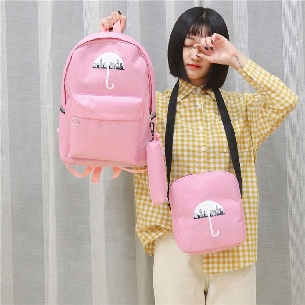 3Pcs Woemn Student Pattern Canvas School Backpacks+Crossbody Bag Plecak +Pen Bag Mochila Feminina Escolar #9
