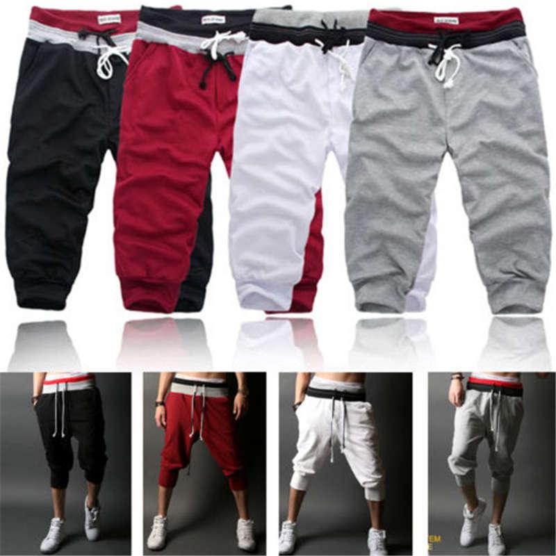 Mens Boy 3//4 Knee Jogger Sport Short Baggy Gym Harem Long Pants Rope Trousers US