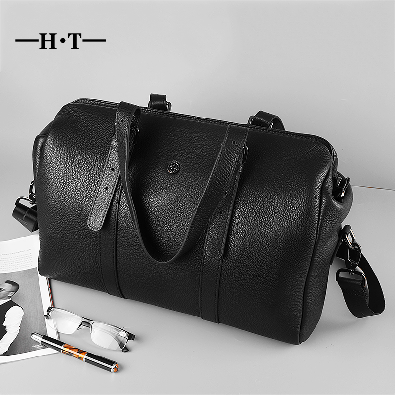 HT Genuine Leather Travel Bags Black Luggage For Mens Large Capacity Weekend Bag Carry On Duffel Cow Leather Traveling Totes lexeb brand trolley travel bag solid genuine leather weekend bags men business traveling duffel high quality hands luggage brown