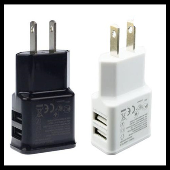 Free shipping 500pcs lot 2A Dual 2Ports USB EU US Wall Charger Adapter for Samsung for