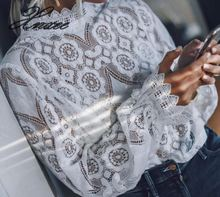 New style 2019 Fashion Summer  laced blouses Sexy&Club o-neck Long sleeve Lace Floral white ladies casual shirts