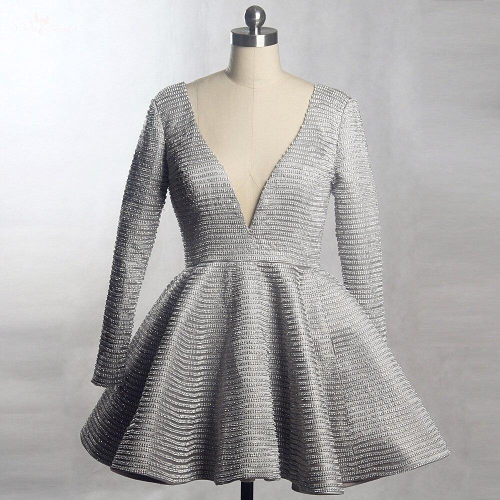 RSE833 Yiaibridal Real Job Photos V Neck Crystal Dress Long Sleeve Vestido De Festa Curto De Luxo Silver Cocktail Dress