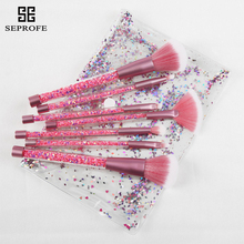 NEW 7Pcs Design Make up Brushes Acrylic Paillette Sequins Makeup Face Beauty Foundation Powder Brush Cosmetics Tools