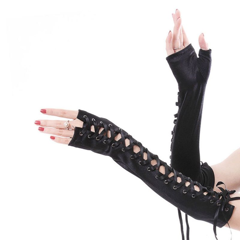 Women Sexy Elbow Length Fingerless Long Gloves String Ribbon  Lace Up Dance Gothic Style Cosplay Mittens Arm Warmer