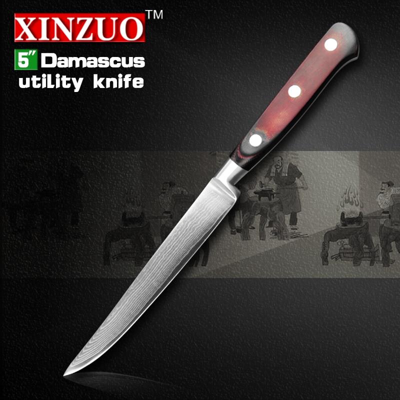 HIGH QUALITY 5 inch uitility font b knife b font Damascus kitchen font b knives b