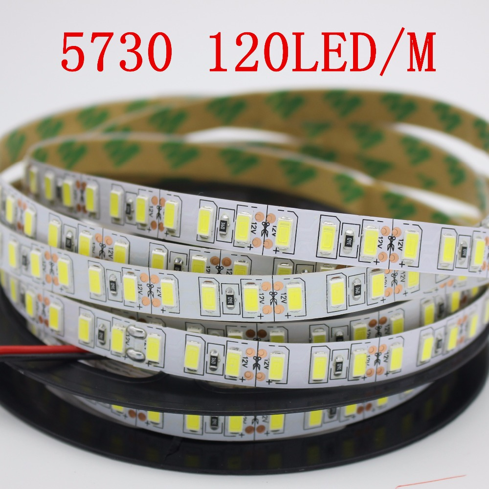 Super bright 5m 5730 LED strip 120 led/m IP20 Not waterproof, 12V flexible 600 LED tape,5630 LED ribbon, white/warm white color(China)