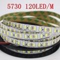 Светодиодная лента, супер яркая, 5 м, 5730 светодиодный/м, IP20, не водонепроницаемая, 12 В, гибкая, 120 светодиодов, 600 светодиодов, белый/теплый белы...