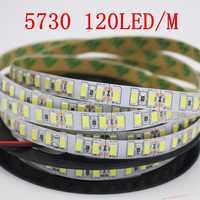 Super brillante 5m 5730 LED tira 120 led/m IP20 no es a prueba de agua, 12V flexible 600 LED cinta, 5630 LED cinta, Blanco/blanco cálido