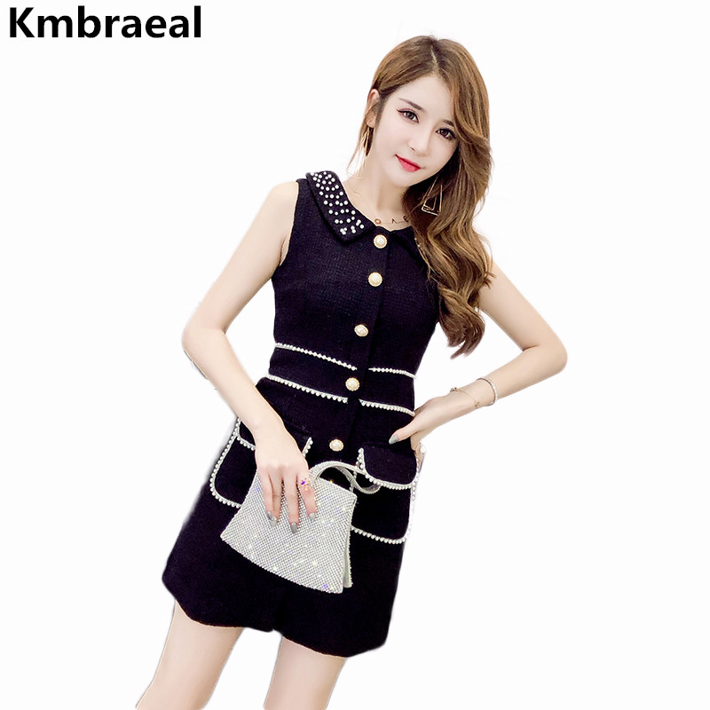 New Ladies Black Autumn Beading Vest Wool Tweed Dress Women Sexy Sleeveless Single-breasted Turn-Down Collar Party Mini Dresses