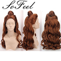 Synthetic wigs Beauty And The Beast  Princess Belle wig Synthetic Long Curly brown Auburn Wig perruque cheveux synthetic