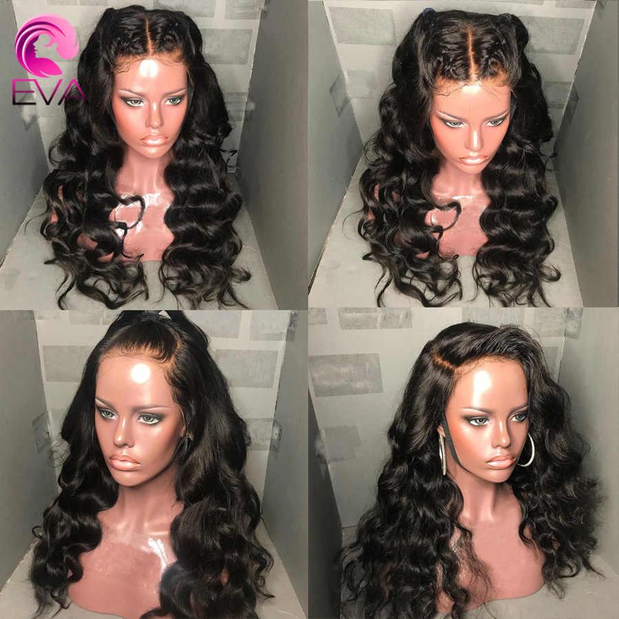 Eva 360 pelucas frontales de encaje Pre desplumadas con pelo de bebé nudos blanqueados onda del cuerpo Peluca de cabello humano Remy brasileño para las mujeres negras
