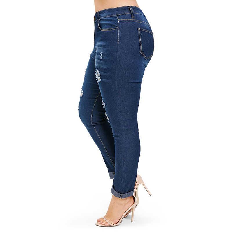 PlusMiss размера плюс 3XL XXXL XXL Высокая Талия пикантные узкие Рваные джинсы Для женщин большой Размеры отверстие искусственно состаренные обтягивающие джинсовые штаны женский
