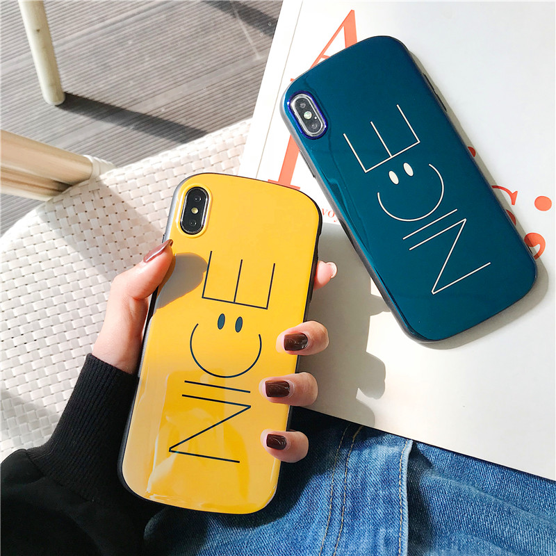 Blue-ray Arc-shaped Nice Smiling Face Case For iPhone Series