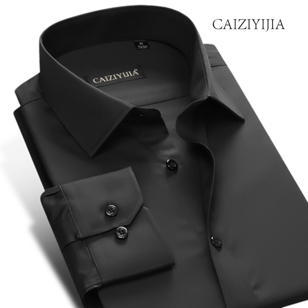 CAIZIYIJIA Hot Sale Solid Long Sleeve Men Shirt High Quality Camisa Masculina 2018 Designer Wedding Dress Shirt Brand Clothing