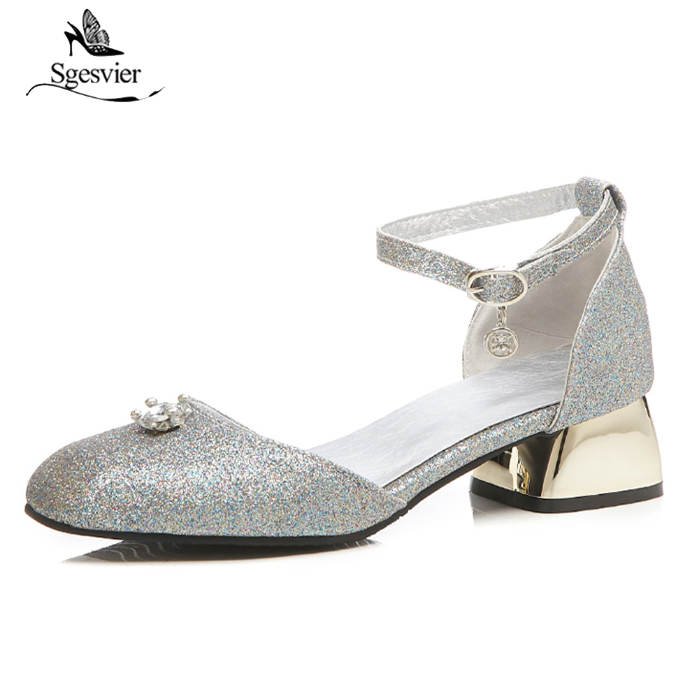 SGESVIER New Style Women Sandals Ladies Square Toe Thick Heels Office Ladies Summer Shoes Ankle Buckle Casual Shoes Size 48 B04 evchar new women shoes summer bling sandals ladies pointed toe high heels buckle ankle strap square heels shoes big size 31 46