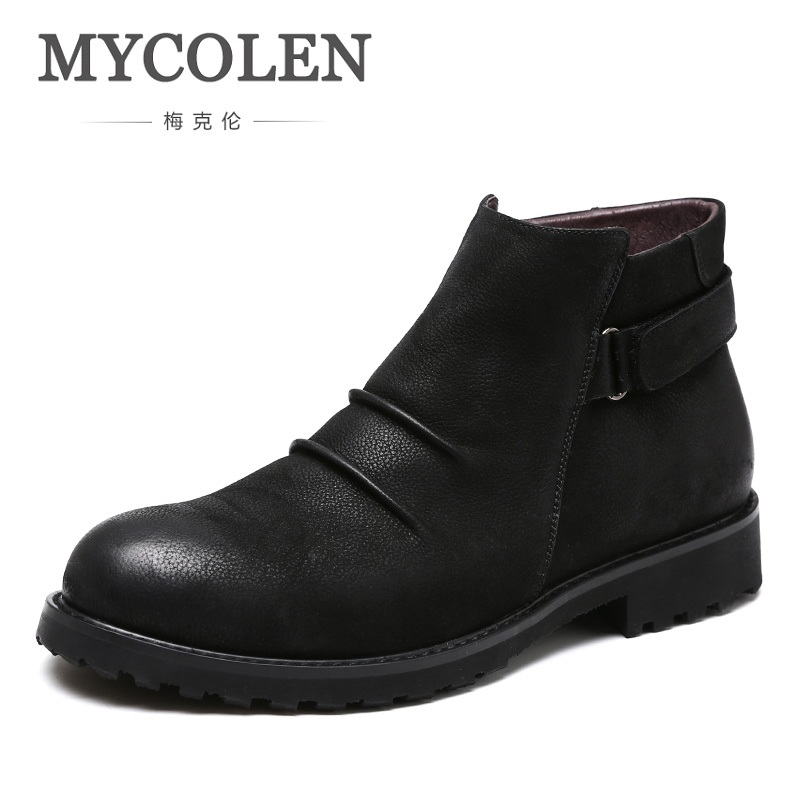 MYCOLEN 2018 Genuine Leather Men Boots Brand Men Boots Classic Business Office Formal Ankle Zipper Male Winter Boots Erkek Bot ...