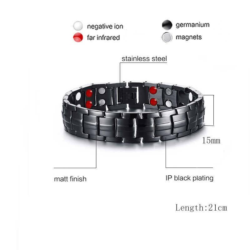 Vinterly czarna bransoletka mężczyźni łańcuch ręczny energia zdrowie germanu bransoletka magnetyczna mężczyźni bransoletki ze stali nierdzewnej dla kobiet mężczyzn