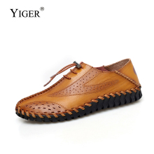 YIGER New Man casual loafers mens peas shoes genuine leather big size lazy male slip-on leisure sandals fashion 295
