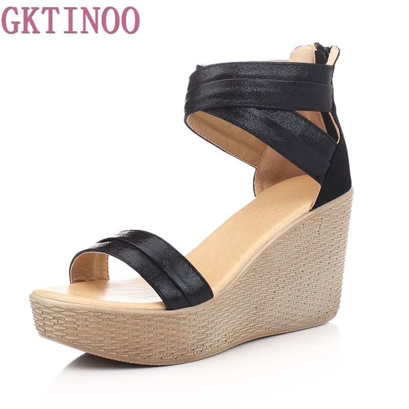 Fashion Women Sandals Summer Wedges Women's Sandals Platform Genuine Leather Open Toe High-heeled Women Shoes Female