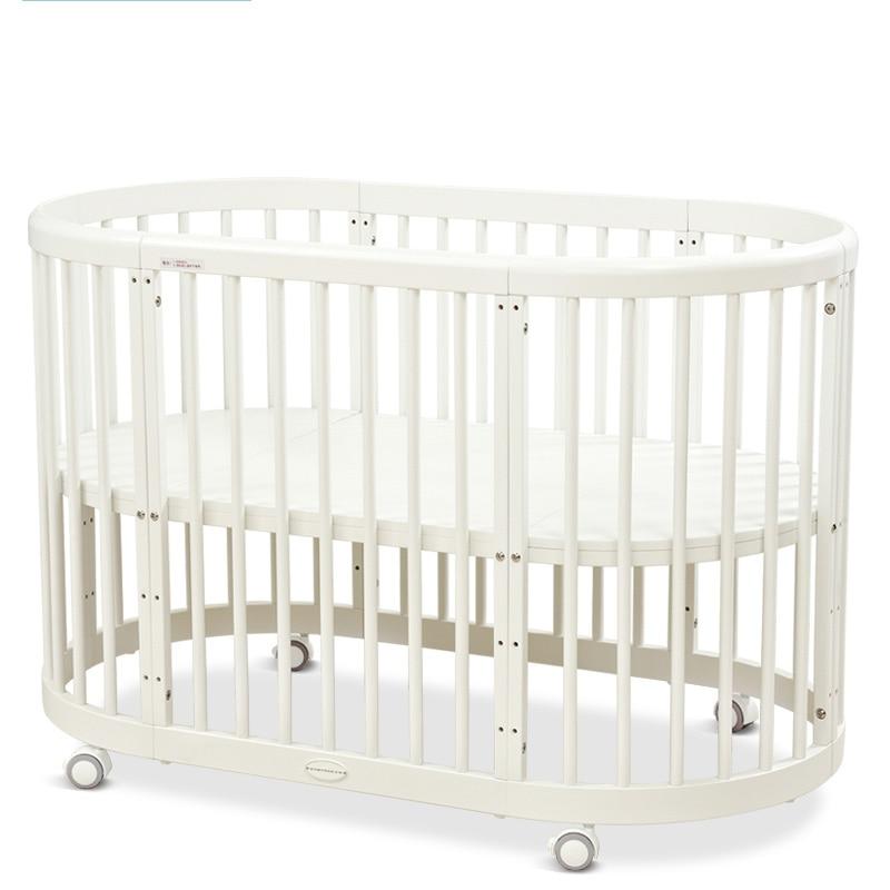 Marque bébé lit écologique bébé berceau lit rond Style européen multifonctionnel bébé jeu lit en bois massif circulaire lit chaise table - 4