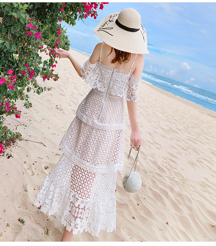 19 New Summer Women Cascading Ruffle Lace Cake Beach Dress Female Casual Sweet Embroidery Hollow Out Chic Party Midi Dresses 5