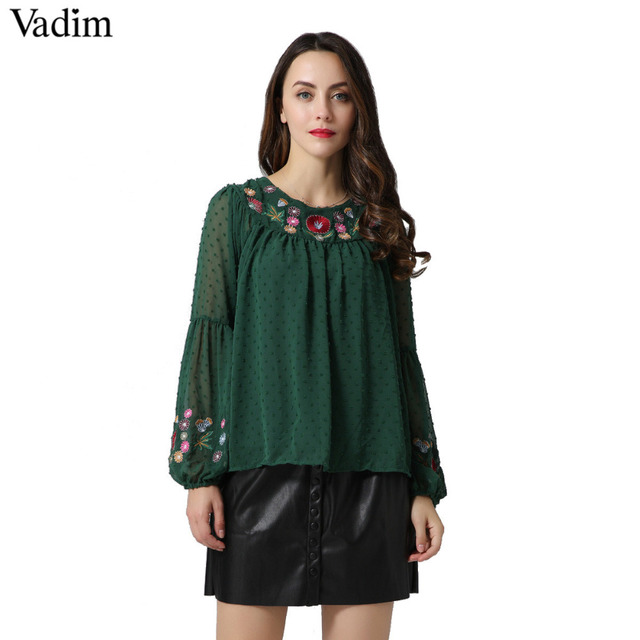 a1a2e769e12de Vadim women floral embroidery chiffon shirts bow tie sleeve O neck vintage  pleated blouse ladies casual tops blusas LT2157