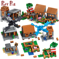 My World Village Mountain Cave Building Blocks Compatible Legoed Minecrafted Dragon Steve Figures DIY Bricks Toys for children