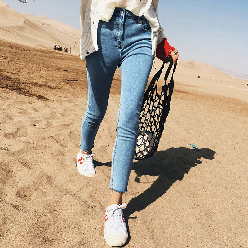 2017 Autumn High Waist Skinny Jeans Woman Casual Cotton Pencil Stretch Jeans Mujer Blue Slim Denim Pants Women 2017 autumn high waist pencil stretch casual skinny jeans femme cotton slim denim pants women casual plus size jeans mujer
