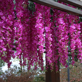 Luyue 97cm 12pcs/lot Artificial Wisteria flowers Vines Wedding Decor Rattan Flower Garland Silk Cherry Fake Leaf Home Garden