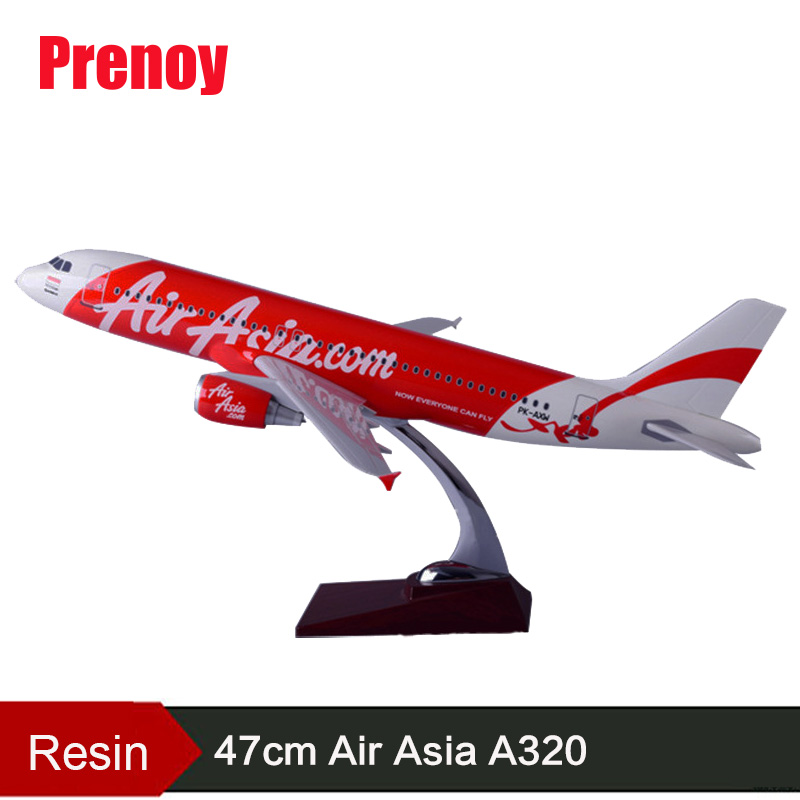 47cm Resin A320 Air Asia Aircraft Model Asian Airlines Airbus Air Asia Model International Airways A320 Airplane Plane Gift Toy pre sale phoenix 11216 air france f gsqi jonone 1 400 b777 300er commercial jetliners plane model hobby