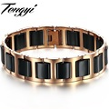 Hot selling bangle  unisex Jewelry stainless steel ceramic bracelet  black with rose gold Plated 448