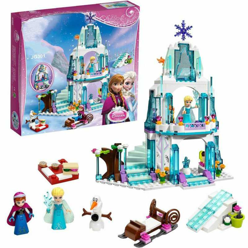Girls Princess Elsa Sparkling Ice Castle Building Bricks Anna Queen Kristoff Olaf Elsa Toy Building Blocks Compatible with Legoe sv 013486