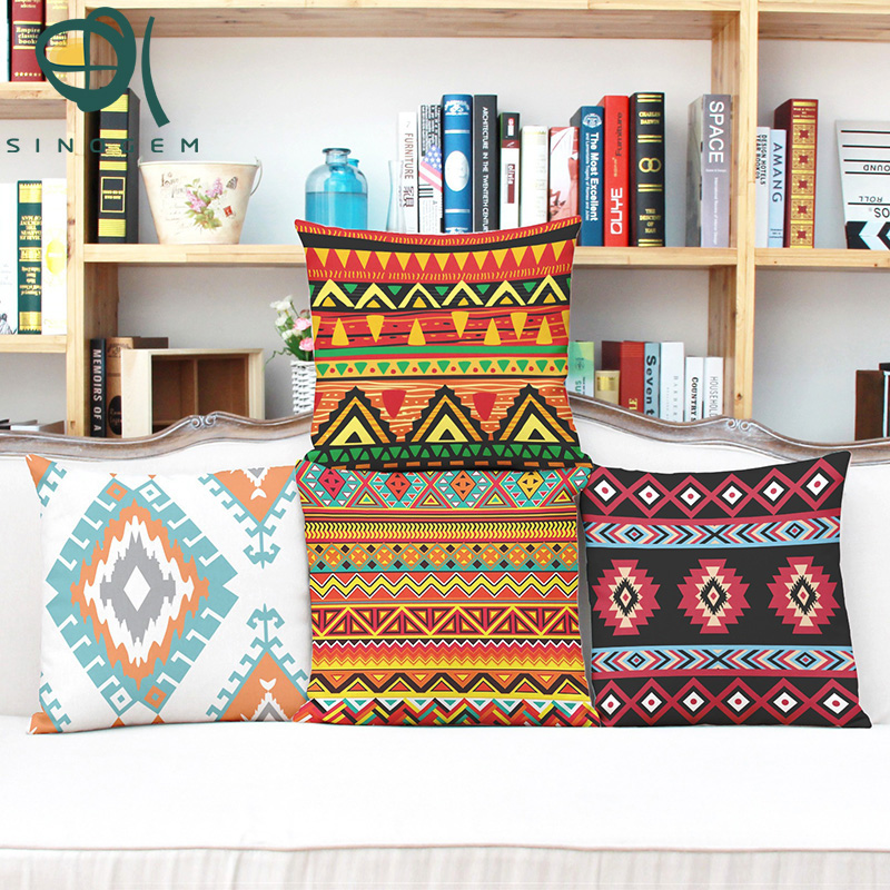 Y Sinogem 2016 Vintage cotton linen Africa geometry stripe wave cushion cover bohemian decorative throw pillows case for home