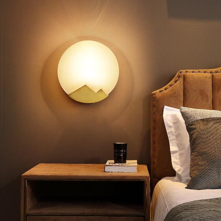 Applique Murale de chambre en cuivre LED appliques en marbre Applique Murale Luminaire miroir arrière luminaires chambre ronde Arandela