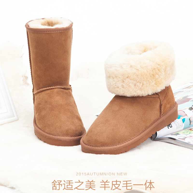 Free shipping classic waterproof cowhide genuine leather snow boots winter shoes for women Fur boots цены онлайн